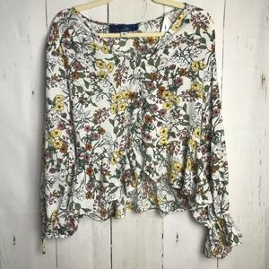 Blue Rain floral bell sleeve top